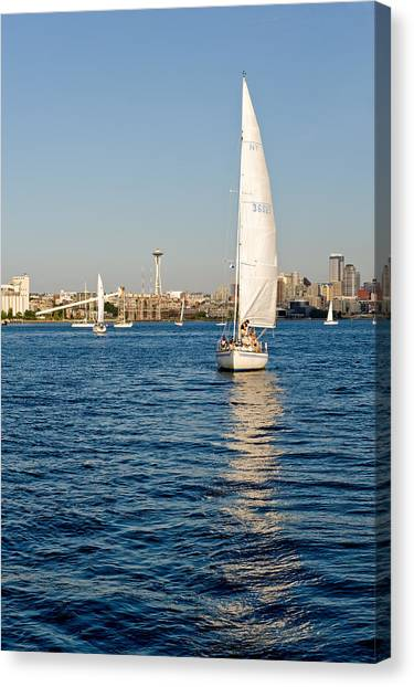 Seattle Sailing Canvas Print by Tom Dowd