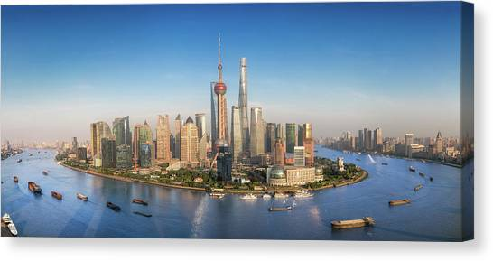Shanghai Skyline With Modern Urban Skyscrapers Canvas Print by Anek Suwannaphoom