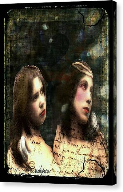 Canvas Print featuring the digital art Two Sisters by Delight Worthyn