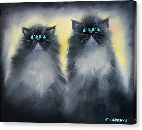 Himalayan Cats Canvas Print - 2 Smokies by Baron Dixon