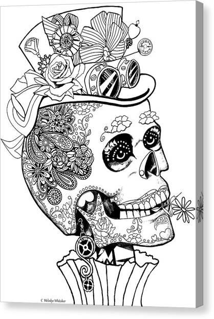 Steampunk Sugar Skull Canvas Print
