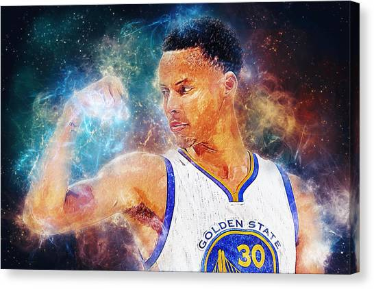 Western Conference Canvas Print - Stephen Curry by Taylan Apukovska