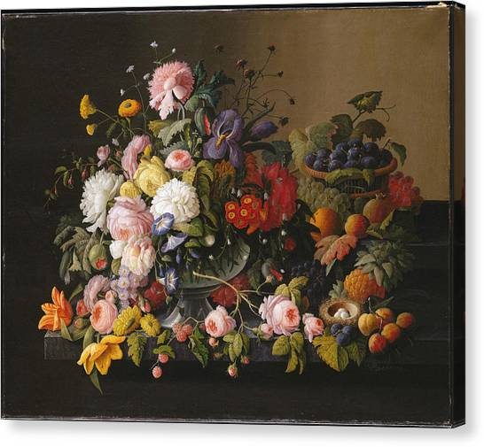 Wedding Bouquet Canvas Print - Still Life, Flowers And Fruit by Severin Roesen