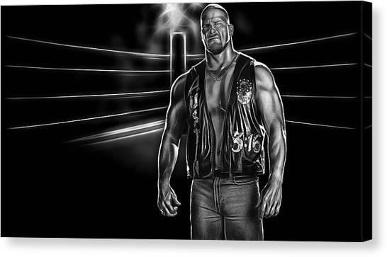 Steve Austin Canvas Print - Stone Cold Steve Austin Wrestling Collection by Marvin Blaine