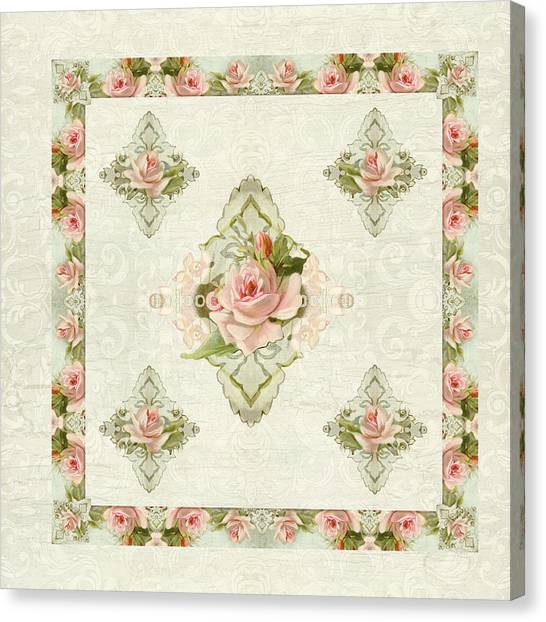 Cottage Style Canvas Print - Summer At The Cottage - Vintage Style Damask Roses by Audrey Jeanne Roberts