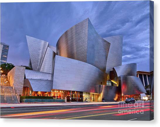 Modern Architecture Canvas Print - Sunset At The Walt Disney Concert Hall In Downtown Los Angeles. by Jamie Pham