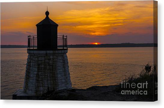 Sunset From Castle Hill Lighthouse. Canvas Print