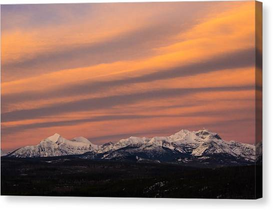 Sunset In Glacier National Park Canvas Print