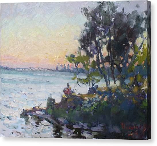 Niagara Falls Canvas Print - Sunset On Niagara River by Ylli Haruni