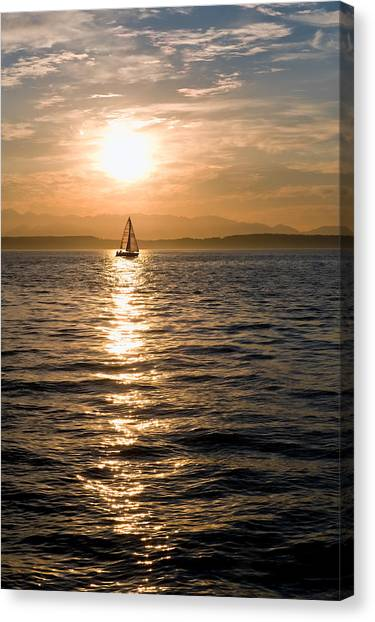 Sunset Sail Canvas Print by Tom Dowd