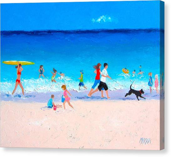People Walking On Beach Canvas Print - Sunshine And Summertime by Jan Matson