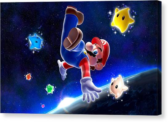 Super Mario Canvas Print - Super Mario Galaxy by Mery Moon
