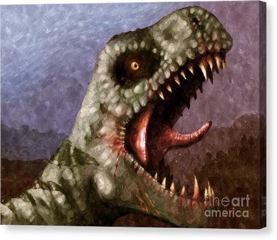 Jurassic Park Canvas Print - T-rex  by Pixel  Chimp