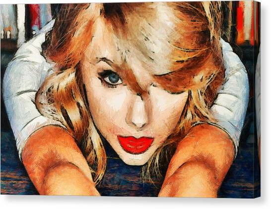 Taylor Swift Canvas Print - Taylor Swift Painting On Canvas by Forever Art