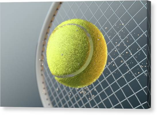 Tennis Racquet Canvas Print - Tennis Ball Striking Racqet In Slow Motion by Allan Swart