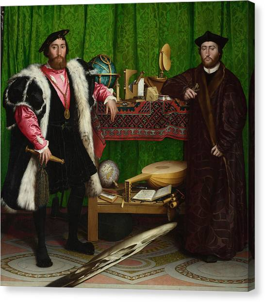 Celestial Globe Canvas Print - The Ambassadors by Hans Holbein the Younger