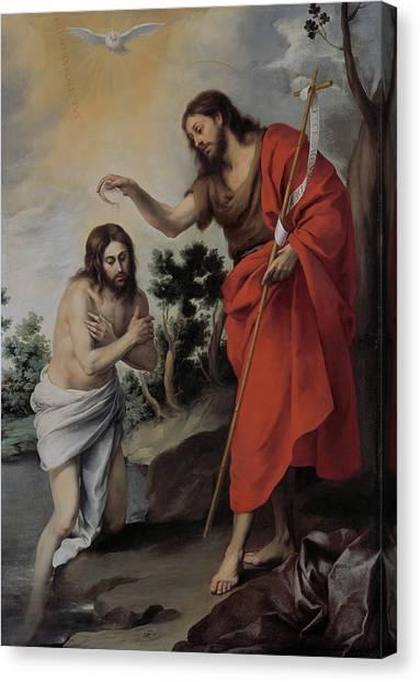 Baroque Art Canvas Print - The Baptism Of Christ by Bartolome Esteban Murillo