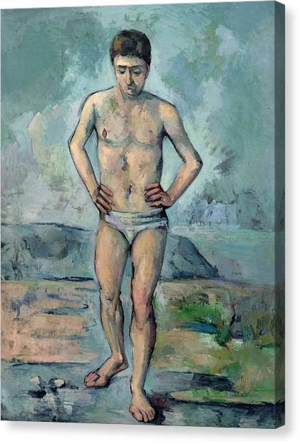 Post-impressionism Canvas Print - The Bather by Paul Cezanne
