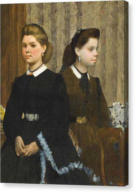 Edgar Degas Canvas Print - The Bellelli Sisters by Edgar Degas