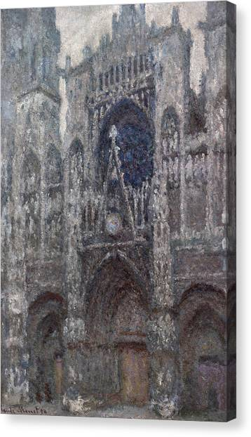 Portal Canvas Print -  The Cathedral In Rouen, The Portal, Grey Weather by Claude Monet