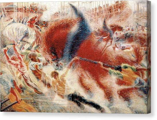 Futurism Canvas Print - The City Rises by Umberto Boccioni