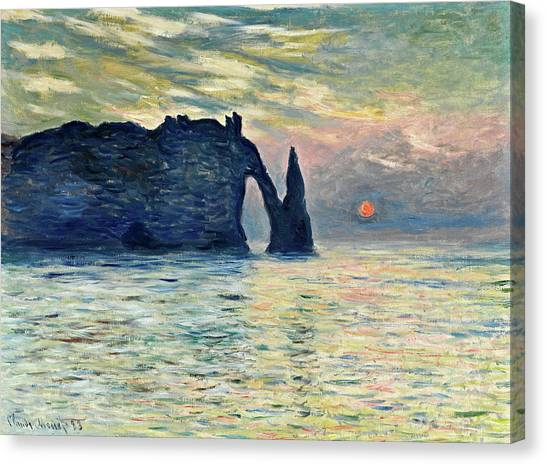 Etretat Canvas Print - The Cliff, Etretat, Sunset by Claude Monet