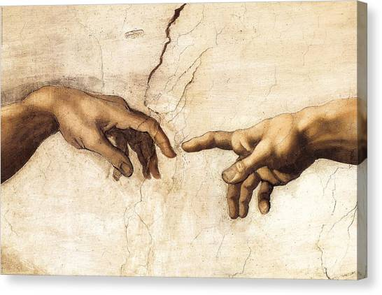 The Creation Of Adam Canvas Print - The Creation Of Adam by Michelangelo