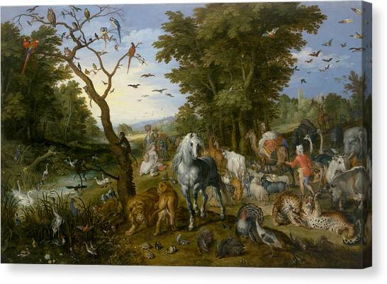 Ostriches Canvas Print - The Entry Of The Animals Into Noah's Ark by Jan Brueghel the Elder