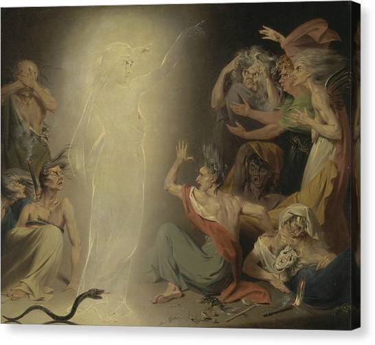 Apparition Canvas Print - The Ghost Of Clytemnestra Awakening The Furies by John Downman