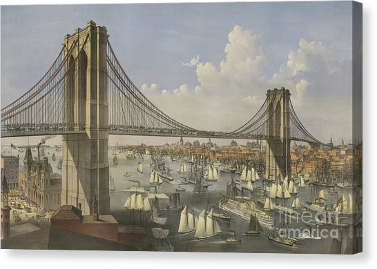 Currier And Ives Canvas Print - The Great East River Suspension Bridge by Currier and Ives