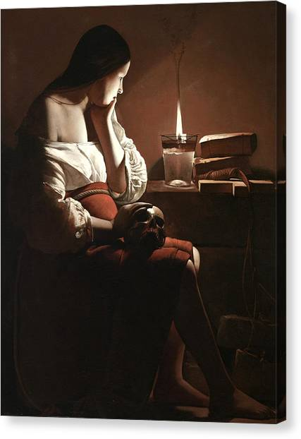 Contemplates Canvas Print - The Magdalen With The Smoking Flame by Georges de la Tour