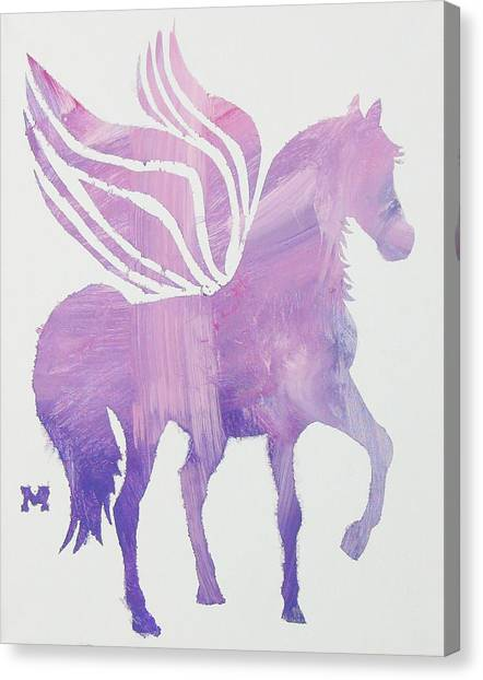 Canvas Print featuring the painting The Pink Pegasus by Candace Shrope