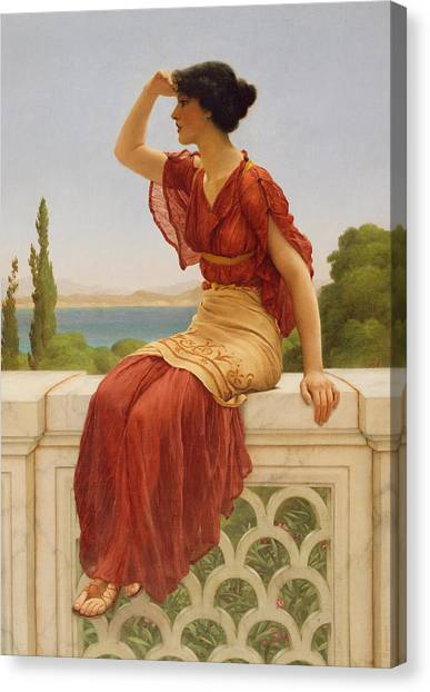 Worried Canvas Print - The Signal by John William Godward