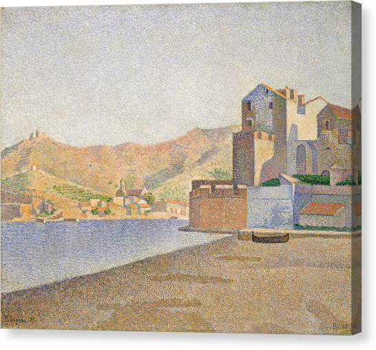 Divisionism Canvas Print - The Town Beach, Collioure, Opus 165 by Paul Signac