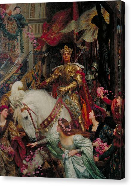 Pre-raphaelite Art Canvas Print - The Two Crowns by Frank Dicksee