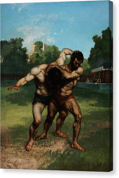 Wrestling Canvas Print - The Wrestlers by Gustave Courbet