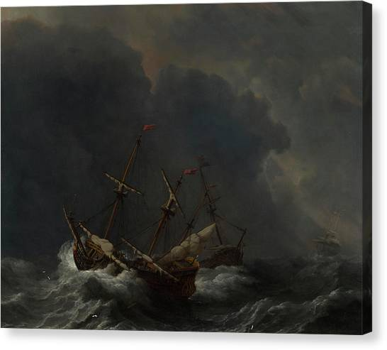 Thunderclouds Canvas Print - Three Ships In A Gale by Willem van de Velde
