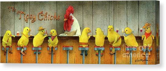 Tipsy Chicks Canvas Print