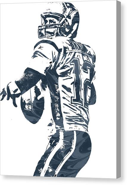 Tom Brady Canvas Print - Tom Brady New England Patriots Pixel Art 5 by Joe Hamilton
