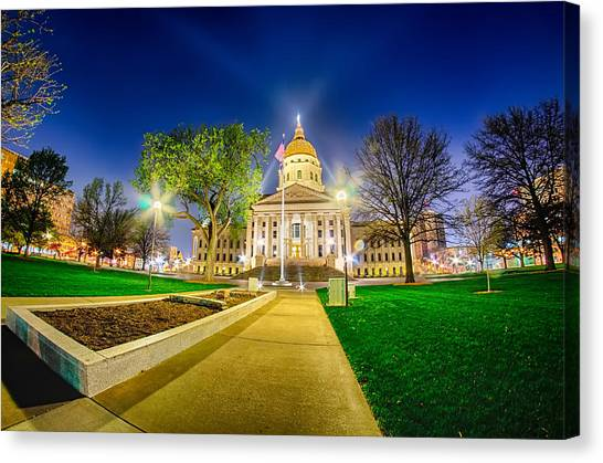 Topeka Kansas Downtown At Night Canvas Print