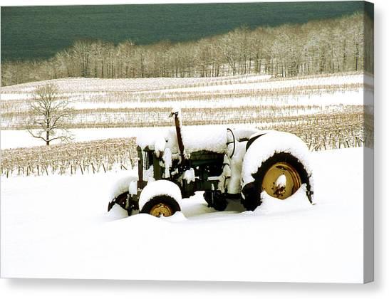 Tractor In Snowy Vineyard Canvas Print