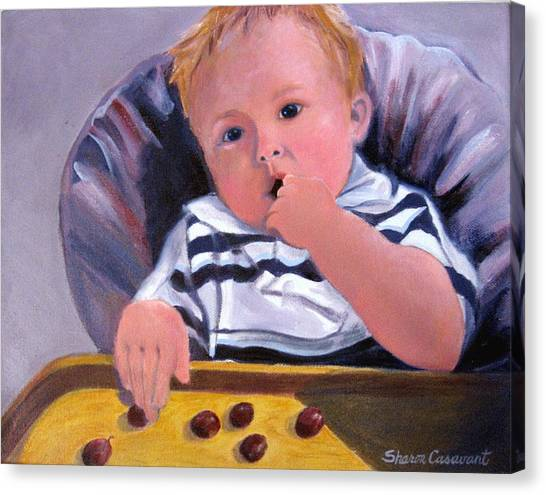 Trevor With Grapes Canvas Print