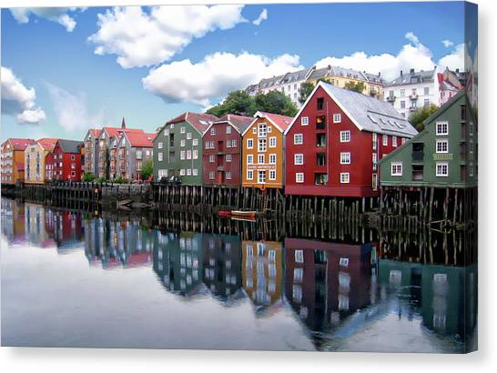 Trondheim Coastal View Canvas Print
