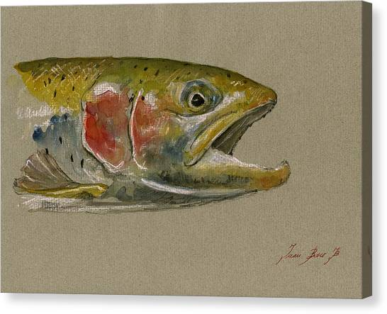 Brook Canvas Print - Trout Watercolor Painting by Juan  Bosco