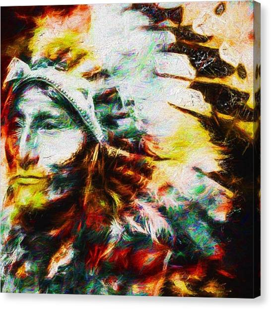 Indian Canvas Print - #turtleisland #nativeamericanindian by David Haskett