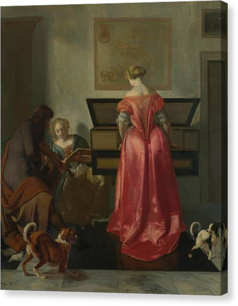Harpsichords Canvas Print - Two Women And A Man Making Music by Jacob Ochtervelt