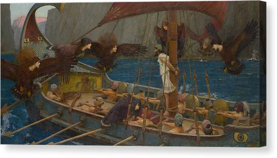 Pre-modern Art Canvas Print - Ulysses And The Sirens by John William Waterhouse