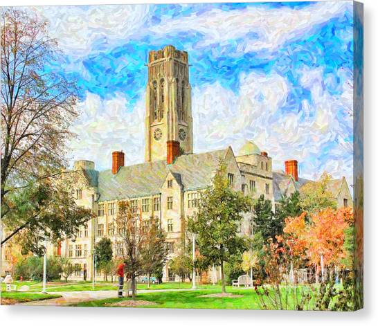 University Of Toledo Canvas Print - University Hall by Jack Schultz