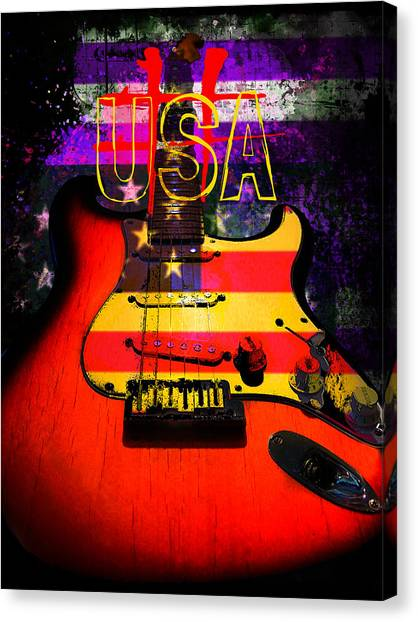 Red Usa Flag Guitar  Canvas Print