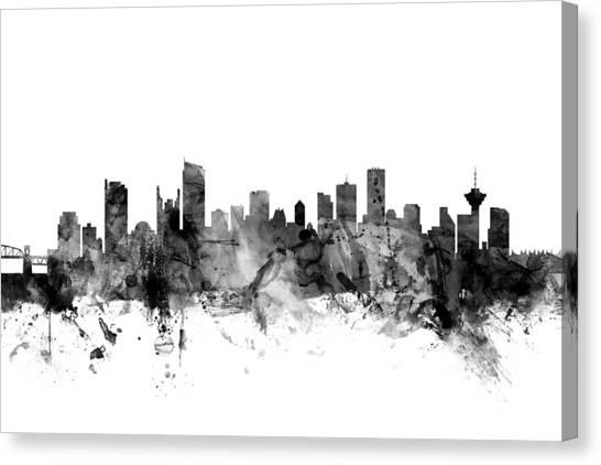 Vancouver Skyline Canvas Print - Vancouver Canada Skyline by Michael Tompsett